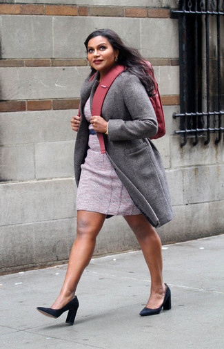 How to wear: grey coat, pink tweed sheath dress, black suede pumps, red canvas backpack