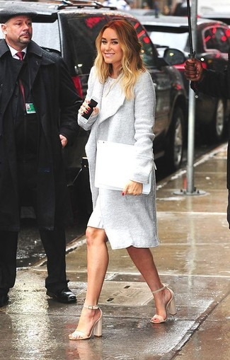 Women's Grey Coat, White Lace Sheath Dress, Beige Leather Heeled Sandals, White Leather Clutch