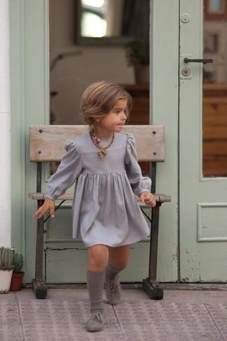 How to wear: grey dress, grey oxford shoes, grey socks
