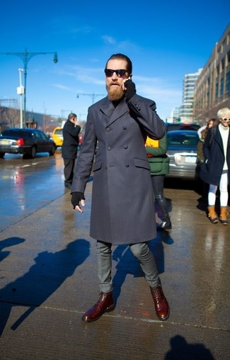 How to wear: burgundy leather casual boots, grey dress pants, black turtleneck, navy overcoat