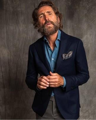 How to wear: grey pocket square, grey wool dress pants, blue denim shirt, navy wool blazer