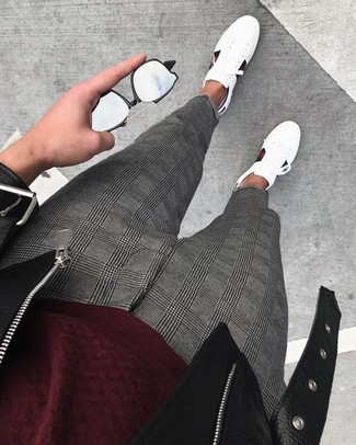 How to wear: white leather low top sneakers, grey plaid dress pants, burgundy crew-neck sweater, black leather biker jacket