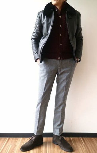 How to wear: dark brown suede desert boots, grey wool dress pants, dark brown cardigan, black leather bomber jacket