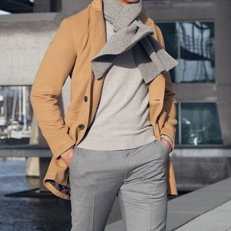 How to wear: grey scarf, grey dress pants, grey crew-neck sweater, camel overcoat