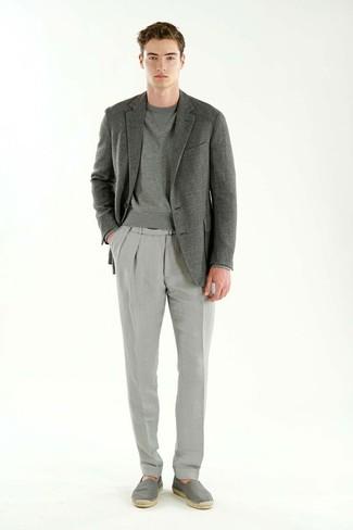 How to wear: grey canvas espadrilles, grey dress pants, grey sweatshirt, grey blazer