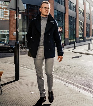 How to wear: dark brown leather chelsea boots, grey dress pants, grey turtleneck, black pea coat