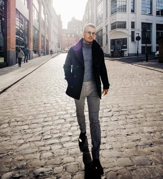 How to wear: black leather chelsea boots, grey wool dress pants, grey wool turtleneck, black pea coat