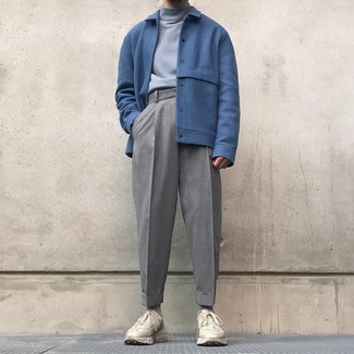 How to wear: beige athletic shoes, grey wool dress pants, grey turtleneck, blue wool bomber jacket