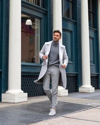 Men's Grey Suede Low Top Sneakers, Grey Wool Dress Pants, Grey Turtleneck, Grey Overcoat