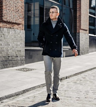 How to wear: dark brown leather chelsea boots, grey wool dress pants, grey turtleneck, navy pea coat