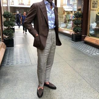 How to wear: dark brown suede loafers, grey dress pants, light blue dress shirt, dark brown blazer