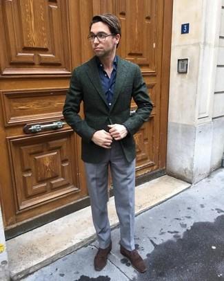 How to wear: dark brown suede oxford shoes, grey dress pants, navy dress shirt, dark green wool blazer
