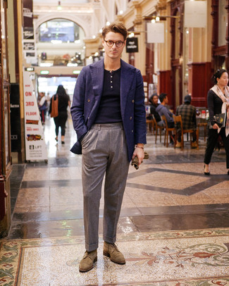 How to wear: tan suede brogues, grey wool dress pants, navy polo neck sweater, navy wool double breasted blazer