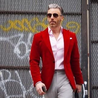How to wear: black sunglasses, grey dress pants, pink dress shirt, red blazer
