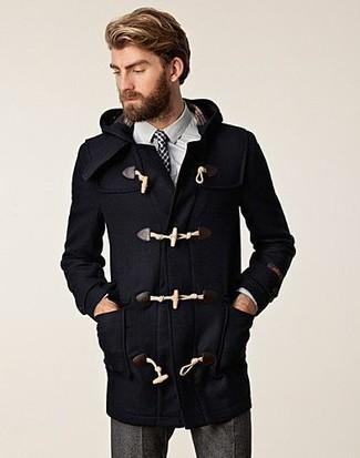 How to wear: white and black polka dot tie, grey wool dress pants, white dress shirt, black duffle coat
