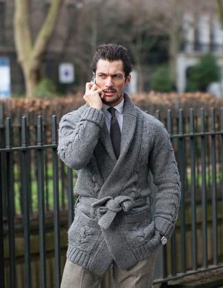 How to wear: black tie, grey check wool dress pants, white dress shirt, grey shawl cardigan