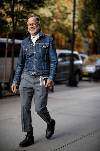 How to wear: black leather brogue boots, grey wool dress pants, white long sleeve shirt, navy denim jacket