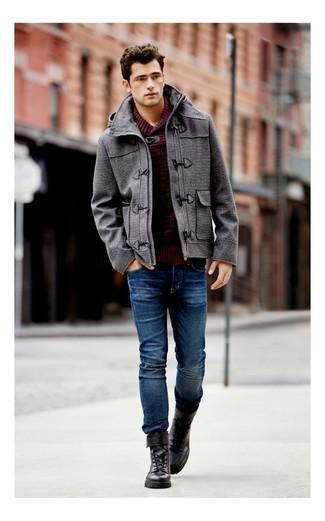 Dark brown boots and black coat