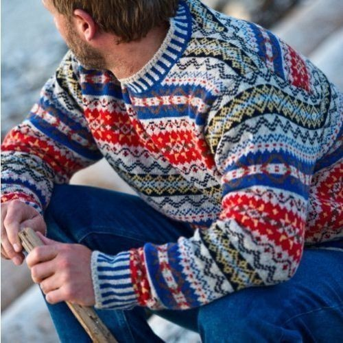 Men's Grey Fair Isle Crew-neck Sweater, Blue Jeans | Men's Fashion