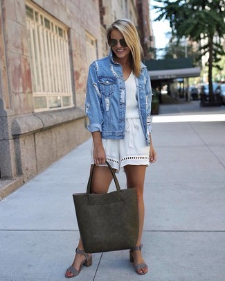 515571b2db35a How to wear: olive leather tote bag, grey suede heeled sandals, white  playsuit Light Blue Ripped Denim Jacket ...