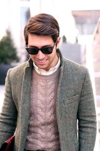 How to wear: grey herringbone blazer, pink cable sweater, white long sleeve shirt
