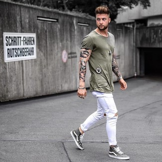 How to wear: grey high top sneakers, white ripped skinny jeans, olive crew-neck t-shirt
