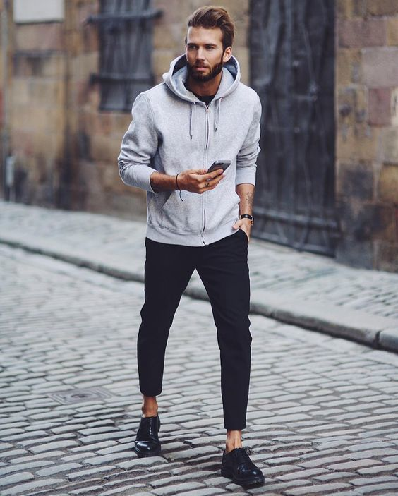 92610c033d53 Men s Grey Hoodie, Black Crew-neck T-shirt, Black Chinos, Black Leather  Oxford Shoes   Men s Fashion   Lookastic UK