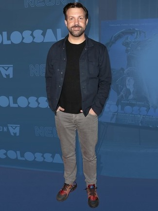 How to wear: multi colored leather low top sneakers, grey jeans, black crew-neck t-shirt, navy denim jacket