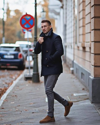 How to Wear Dark Brown Suede Chelsea Boots For Men: As you can see, looking effortlessly classic doesn't require that much effort. Make a navy pea coat and grey jeans your outfit choice and be sure you'll look amazing. And if you want to effortlesslly rev up your outfit with one single piece, why not introduce dark brown suede chelsea boots to the mix?