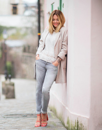 How to wear: red leather heeled sandals, grey jeans, white crew-neck sweater, beige coat