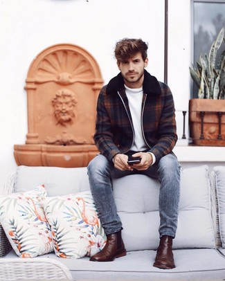 How to wear: brown leather chelsea boots, grey jeans, white crew-neck sweater, navy plaid wool bomber jacket
