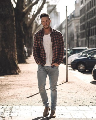 How to wear: brown suede chelsea boots, grey jeans, white crew-neck t-shirt, black plaid shirt jacket
