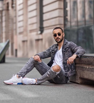 How to wear: white athletic shoes, grey ripped jeans, white crew-neck t-shirt, grey denim jacket