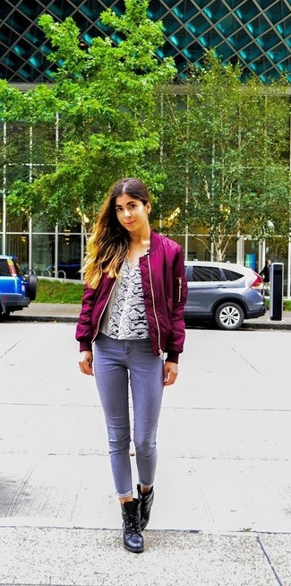 How to wear: black leather ankle boots, grey jeans, white snake long sleeve blouse, purple bomber jacket