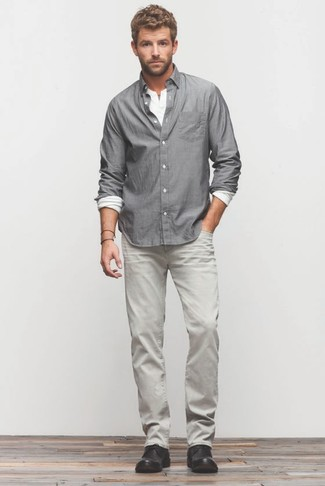 How to wear: black leather desert boots, grey jeans, white long sleeve henley shirt, grey long sleeve shirt