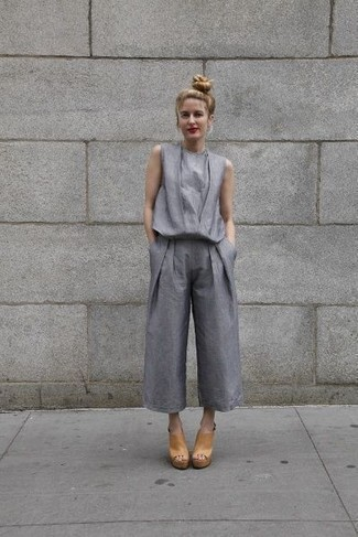 How to wear: grey jumpsuit, tan leather mules