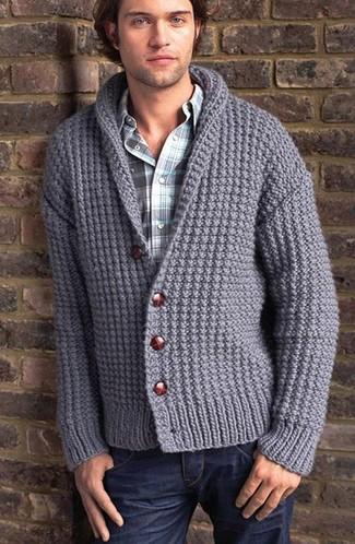 How to wear: grey knit shawl cardigan, blue plaid long sleeve shirt, navy jeans