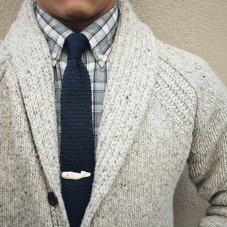 How to wear: grey knit shawl cardigan, grey gingham long sleeve shirt, navy knit tie
