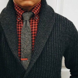 How to wear: grey knit tie, red gingham dress shirt, black shawl cardigan