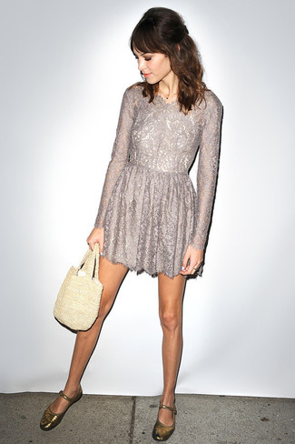 Consider wearing a grey lace fit and flare dress for incredibly stylish attire. Gold leather ballerina shoes are the right shoes here to get you noticed. The comfort and simplicity of this getup takes care of the heat and helps you make a stylish statement wherever you go.