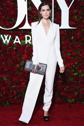 How to Wear a Grey Leather Clutch: For a casual and cool ensemble, pair a white jumpsuit with a grey leather clutch — these items play really well together. Amp up your look by finishing with black chunky suede heeled sandals.