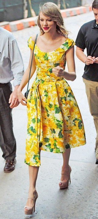 How to wear: grey leather crossbody bag, beige leather heeled sandals, yellow floral midi dress