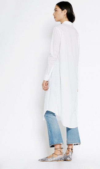 Used Effect Flared Jeans