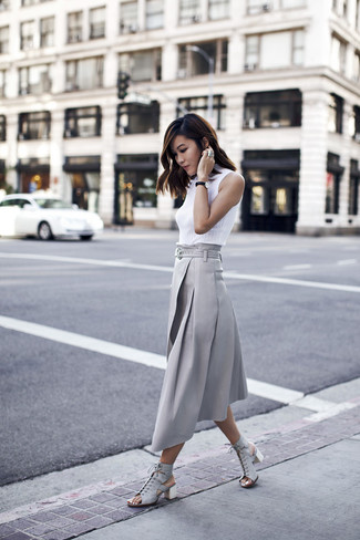 How to wear: grey leather heeled sandals, grey pleated midi skirt, white sleeveless turtleneck