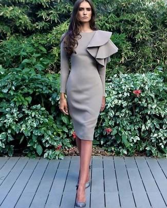 How to wear: grey leather pumps, grey ruffle sheath dress