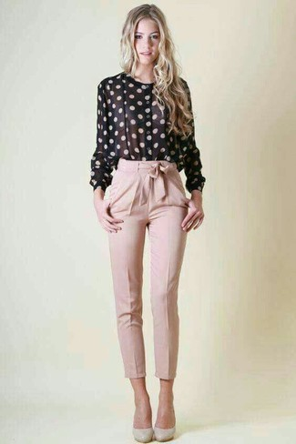 How to wear: grey leather pumps, pink tapered pants, black and white polka dot button down blouse