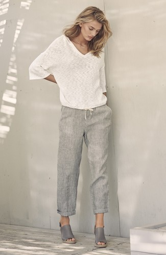 How to wear: grey leather wedge sandals, grey linen wide leg pants, white v-neck sweater