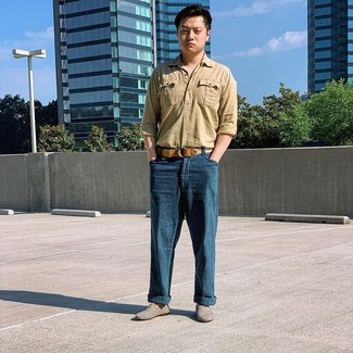 How to wear: tan woven canvas belt, grey canvas loafers, navy linen chinos, tan linen long sleeve shirt