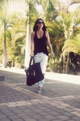 How to wear: black suede tote bag, grey suede loafers, white ripped boyfriend jeans, black tank