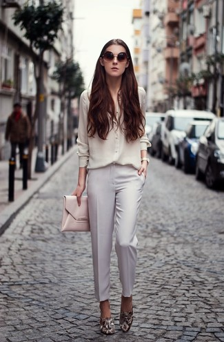 How to wear: pink leather clutch, grey snake leather loafers, white dress pants, white silk dress shirt